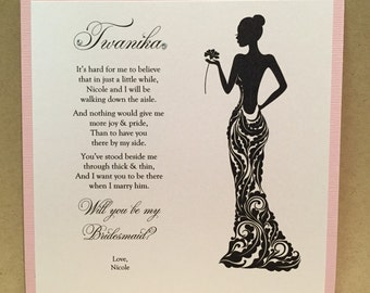 Custom Will You Be My Bridesmaid Cards / Maid of Honor Personalized Card Invite {Dress 3}