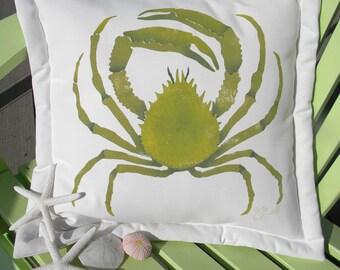 "Outdoor pillow SPIDER CRAB 20"" green weather resistant coastal seashore beach ocean nautical crustacean"