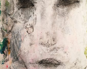 Art Brut - Outsider Portrait - Original Outsider-Kunst - gemischte Medien Portrait - kleine Kunst - Wohnkultur Kunst - rohe Kunst