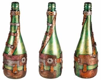 "12"" Steampunk Oil Lamp Bottle - Green/Gold"