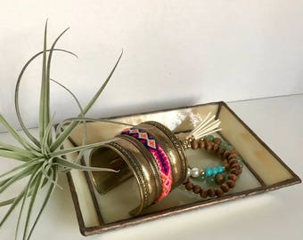 Vintage stained glass tray