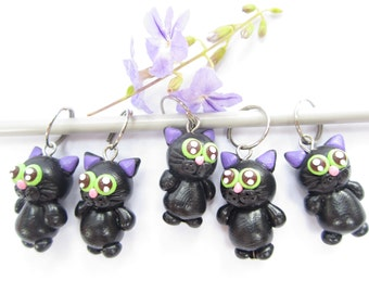 Black cat stitch markers set of 5, knitting accessories, cat charms, miniature animal, polymer clay, gifts for knitters cat lover gifts cute