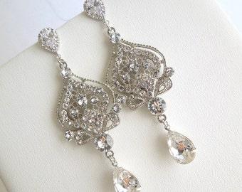Bridal Earrings Swarovski earrings Chandelier Earrings Long Rhinestone Earrings Wedding Crystal Earrings Statement Bridal Earrings STELLA