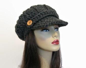 Gray Newsboy Cap Charcoal News boy Gray Knit Hat with Visor Charcoal Cap Gray Beret Womens newsboy Charcoal Hat Crochet Cap charcoal beanie