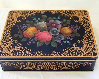 English Garden Tin w/Hinged Lid - Flower Gold Scrolling Metal Box