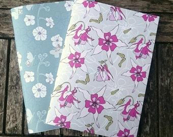 2 Handmade A5 Notebooks - Botanics Set