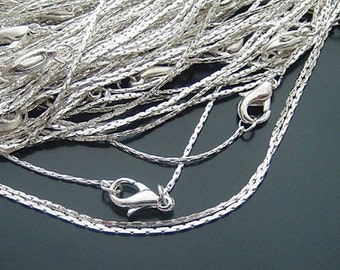 12 Silver White Gold 0.8mm Pole-chain with Lobster Clasp Necklaces Chains H16039