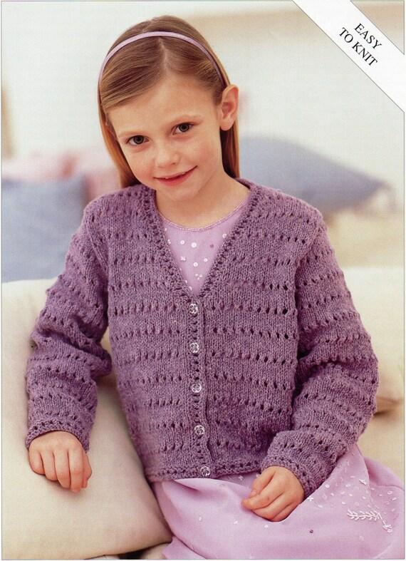 Girls Knitting Pattern Girls Cardigan Childs Cardigan Easy Knit V