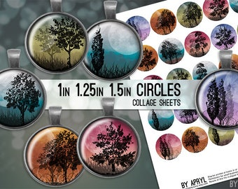 Moonlight Trees 1 inch 1.25 and 1.5 Circles Collage Sheet for Glass and   Resin Pendants Bottle Caps Digital Download JPG