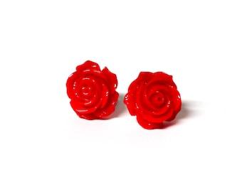 Rockabilly Red Rose Earrings