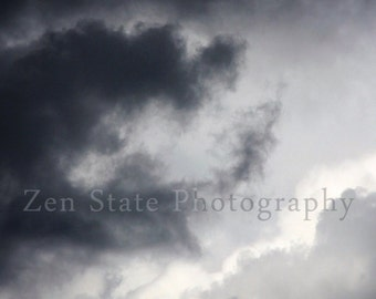 Cloud Art. Cloudy Sky Photo Print. Sky Photography. Cloud Watching Wall Art. Unframed Photography Print, Framed Print, or Canvas Print.