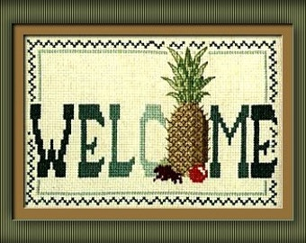 Welcome Pineapple in counted cross stitch CHART ONLY