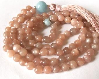 Moonstone Aquamarine Mala Necklace, 108 Mala Beads, Meditation Mala, Yoga Mala, Buddhist Mala Prayer Beads, Heart Chakra Mala, Japa Mala