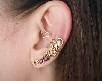 Brass  Ear Cuff with Purple Moon Beads Brass Ear Wrap (BRP60)