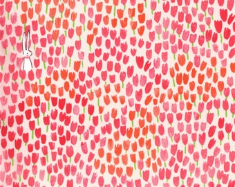 Michael Miller - Sommer Blossom Tulip Tangled - Sarah Jane - bunny springtime red pink tulips - cotton sewing quilting fabric - HALF YARD
