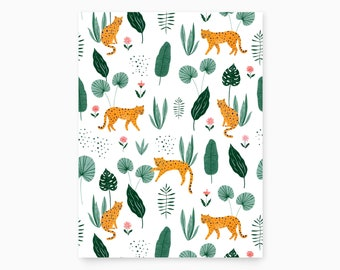 Leopard in Jungle Pattern Art Print
