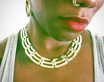 Vintage Gold Collar Necklace // Choker // Statement Necklace