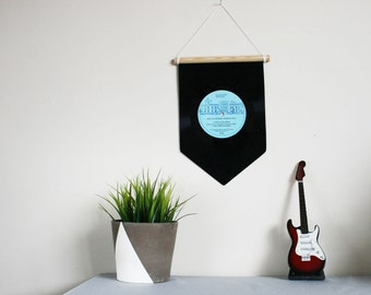 Blue Wall Hanging | Vinyl Record Pennant Flag | Music Home Decoration