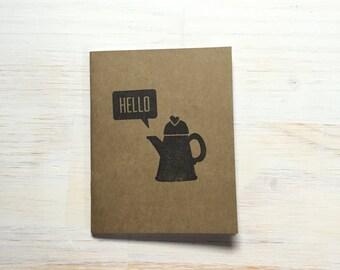 Medium Notebook: Tea Kettle, Hello, Fall, Cute, Notebook, Brown, Hipster, Stocking Stuffer, Favor, Blank, Journal, Unique, Gift, KR105/240