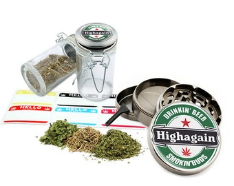 "Highagain - 2.5"" Zinc Alloy Grinder & 75ml Locking Top Glass Jar Combo Gift Set Item # G50120915-10"
