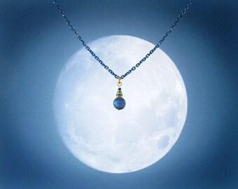 Moonrise Galaxy cobalt blue stardust bead & chain necklace