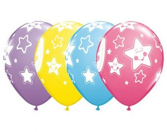 Baby Shower Balloons - Moons and Stars. Pkt of 5 Mixed Moon and Star Print 28cm