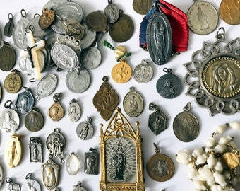 Vintage French Religious Medals Lot of 60 Holy Medals Saints Medals