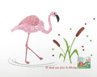 Applied fusible Flamingo among the reeds in fabric liberty Capel rose, fusing liberty iron on liberty fabrics
