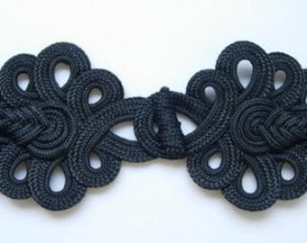 MR05-7 Macrame Fastener Frog Closure Knot Ornament Black