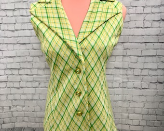 Mod green and yellow plaid 60s suit vest waistcoat size XL