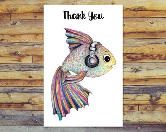 Printable Thank You Cards, Fish Card, Instant Download, Printable Greeting Cards, Digital Download, Digital Cards, Cute Fish With Music