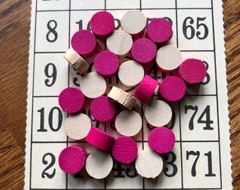 24 Vintage Pink and Natural Wood BINGO Markers