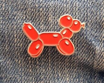 Red Balloon Dog Enamel Pin Badge