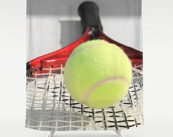 Tennis Shower Curtain-Sports Bathroom Decor-Athletic Bath Decor-Tennis Racquet-71x74-Preppy Decor-Dorm Shower-Tennis Decor