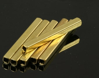 Square Tube 5 Pcs Raw Brass 50 x 5 mm (hole 3,6 mm) Findings 1765