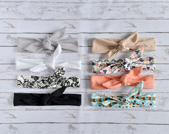 Set of 8 headbands Top Knot Headband Adult, Available different colors/patterns