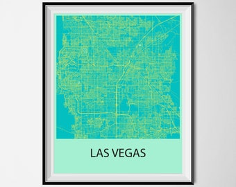Las Vegas Map Poster Print - Blue and Yellow