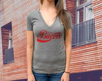 Enjoy Bacon Women T-shirt, Triblend Deep V-Neck Tee, Extremely soft