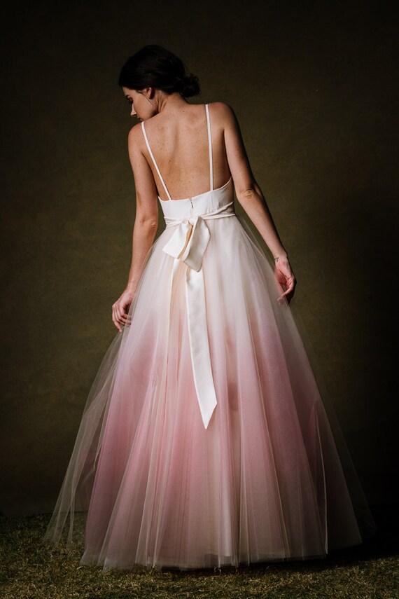 Ombre Dip gefärbt Tüll Ballgown Brautkleid Sunset von Cleo