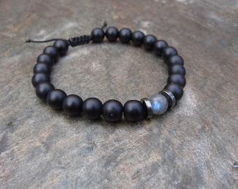 matte black stone hematite and labradorite bracelet