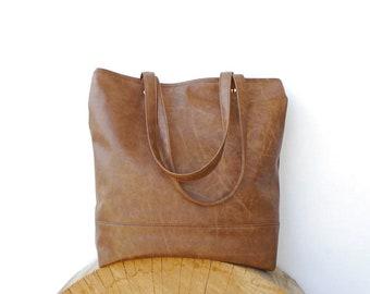 Brown leather zipper bag, Large tote bag rustic design, Coffe tote, Vegan leather tote bag, shopping handbag, Messenger bag, Day purse brown