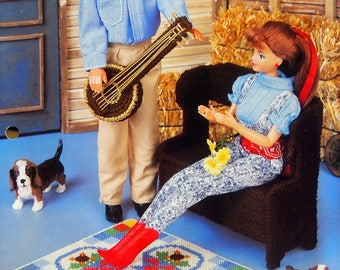 Country Melody By Shirley Kogler, Michele Wilcox And Annie's Fashion Doll Plastic Canvas Club Vintage Plastic Canvas Pattern Leaflet 1996