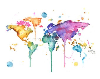 Colourful world map etsy world map series no 3 print of original watercolor illustration gumiabroncs Gallery