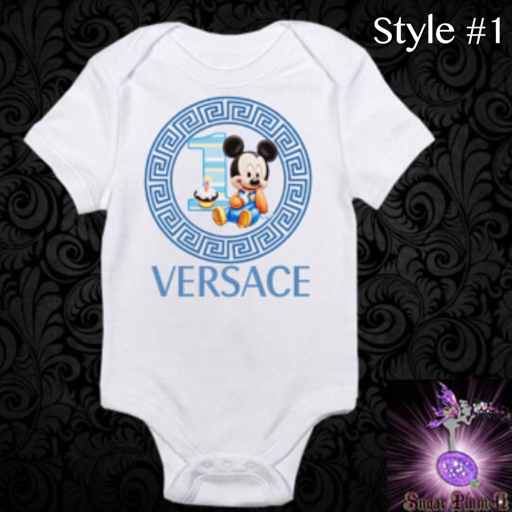 Blue Baby Mickey Mouse esie First Birthday Outfit