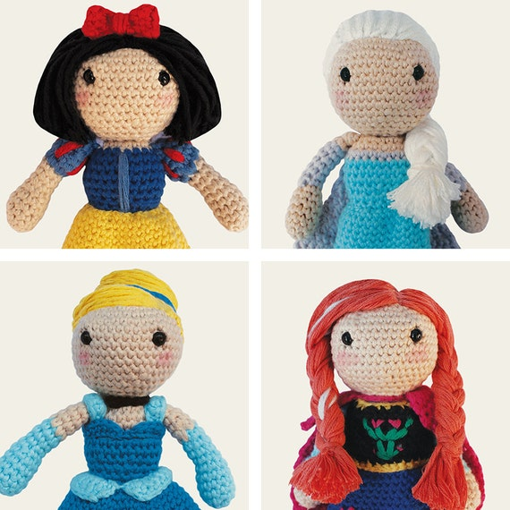 Disney Princess: Snow White, Cinderella, Elsa & Anna. Frozen, Amigurumi Pattern PDF.