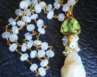 Large Baroque Coin Pearl Gemstone Cluster Pendant with Abalone on Moonstone Rosary Chain Gold Filled Statement Necklace