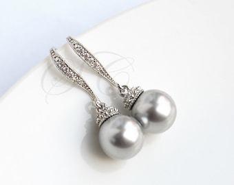 Grey Pearl Earrings Grey Wedding Jewelry Swarovski Light Grey Cubic Zirconia Bridesmaid Jewelry Dangle Bridesmaids Gift K041