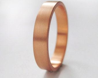 3x1.3mm Rose Gold Wedding Band   Rose Gold Ring   Eco friendly   Flat Edge Wedding Band   Women's Men's 14k 18k Band