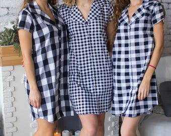 Bridesmaids Shirts in Go Gingham Pattern - Short Sleeved Notched Collar Style