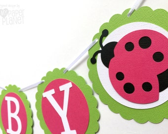Pink Ladybug Baby Girl banner. Pink and Green Ladybird garland for Baby shower, Birthday party decor bunting. Baby girl gender reveal.
